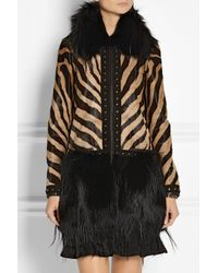 Emilio Pucci - Black Printed Calf Hair Goat and Fox Coat - Lyst