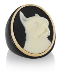 Marc By Marc Jacobs | Black Olive Resin Gold-Tone and Czech Stone Cameo Ring | Lyst