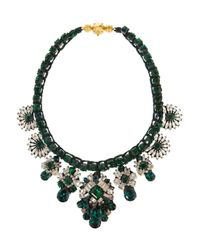 Shourouk | Green Silver-Plated Swarovski Crystal Necklace | Lyst