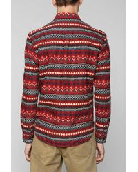 Stapleford - Red Cledus Fair Isle Button-Down Flannel Shirt for Men - Lyst