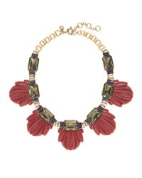 J.Crew | Red Fanned Leaf Necklace | Lyst