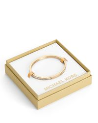 Michael Kors | Metallic Thin Pave Hinge Bracelet Golden | Lyst