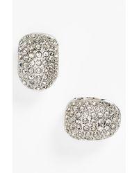 Anne Klein | Metallic Pave Small Hoop Clip Earrings | Lyst