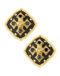 Armenta | Metallic Midnight Square Button Earrings | Lyst