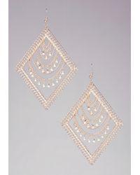 Bebe - Metallic Draped Diamond Earrings - Lyst