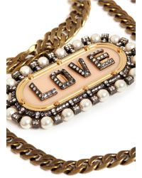 "Lanvin - Metallic Multi-chain ""love"" Pendant Necklace - Lyst"