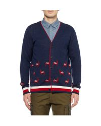 White Mountaineering - Blue Patterned Wool Cardigan for Men - Lyst