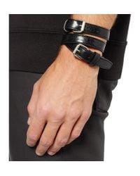 Balenciaga - Black Wrapped Creased-Leather Bracelet for Men - Lyst