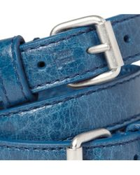 Balenciaga - Blue Wrapped Creased-leather Bracelet for Men - Lyst