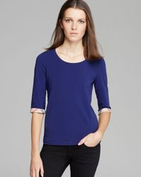 Burberry | Blue Brit Three Quarter Sleeve Check Tee | Lyst