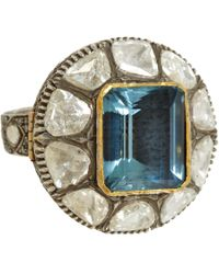 Munnu - Blue Diamond & Aquamarine Ring - Lyst