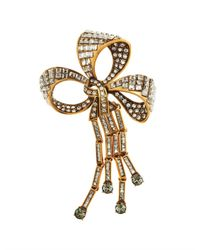 Oscar de la Renta - Metallic Bow Brooch - Lyst