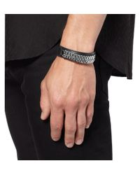 Saint Laurent | Black Leather and Metalchain Cuff for Men | Lyst