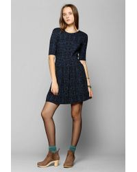 Urban Outfitters | Blue Cooperative Pleated Fit Flare Dress | Lyst