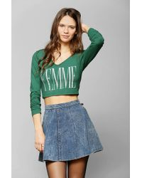Urban Outfitters | Green Truly Madly Deeply Femme Cropped Tee | Lyst