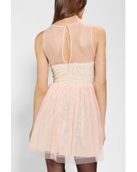 Pins And Needles - Pink Mesh Sequin Fit & Flare Dress - Lyst