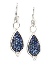 Jude Frances - Pave Blue Sapphire Diamond Teardrop Earrings - Lyst