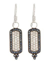 Jude Frances - White Blue Sapphire Cushion Earrings - Lyst