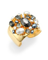 Kenneth Jay Lane - Metallic Embellished Clustered Cuff Bracelet - Lyst