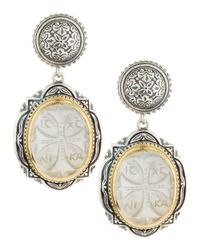 Konstantino | White Athena Cross-carved Mother-of-pearl Earrings | Lyst