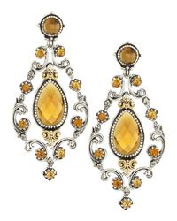Konstantino | Brown Cognac And Citrine Chandelier Earrings | Lyst