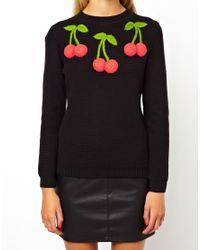 Just Cavalli - Black Asos Petite Sweater with 3d Cherries - Lyst