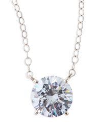 Fantasia by Deserio - White Round Cubic Zirconia Pendant Necklace - Lyst