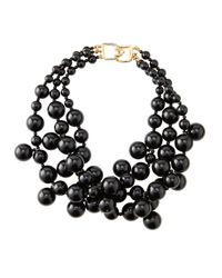 Kenneth Jay Lane | Black Beaded Cluster Necklace | Lyst
