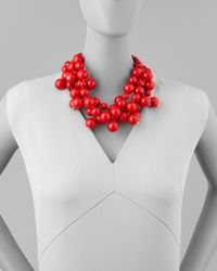 Kenneth Jay Lane - Red Beaded Cluster Necklace - Lyst