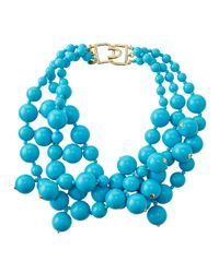 Kenneth Jay Lane | Blue Beaded Cluster Necklace Turquoise | Lyst