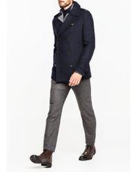 Mango - Blue Woolblend Peacoat for Men - Lyst