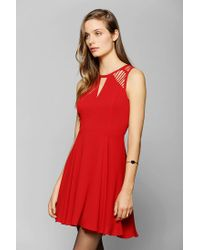 Urban Outfitters | Red Sparkle Fade Lattice shoulder Skater Dress | Lyst