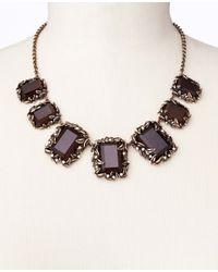 Ann Taylor - Black Botanical Stone Statement Necklace - Lyst