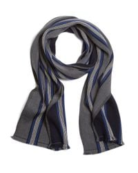Brooks Brothers | Gray Double Faced Merino Triple Stripe Scarf for Men | Lyst