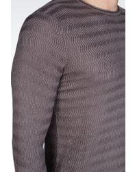 Emporio Armani - Gray Crew Neck Sweater in Viscose and Silk for Men - Lyst