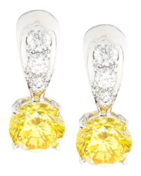 Fantasia by Deserio - Yellow Tapered Canary & White Cubic Zirconia Dangle & Drop Earrings - Lyst