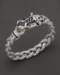 John Hardy | Metallic Men'S Batu Naga Sterling Silver Dragon Head Bracelet On Small Braided Chain With Blue Sapphire And Ruby On The Eyes for Men | Lyst