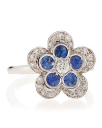 Roberto Coin - Metallic Diamond and Sapphire Flower Ring Size 65 - Lyst