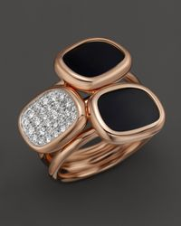 Roberto Coin | Pink Diamond Black Jade Double Ring In 18K Rose Gold, .31 Ct. T.W. | Lyst