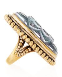 Stephen Dweck - Metallic Long Oval Carved Mother of Pearl Ring Size 7 - Lyst