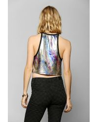 Urban Outfitters - Metallic Silence Noise Lava Lamp Cropped Top - Lyst
