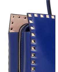 Valentino - Blue Rockstud Leather Tote - Lyst