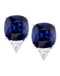 Fantasia by Deserio | Blue Cushion-Cut Cubic Zirconia Stud Earrings | Lyst