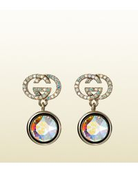 Gucci - Blue Earrings With Iridescent Crystal - Lyst