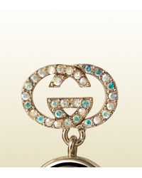 Gucci | Blue Earrings With Iridescent Crystal | Lyst