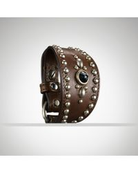 Ralph Lauren | Brown Studded Buckled Leather Cuff | Lyst