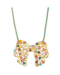 Betsey Johnson - Multicolor Antique Gold-Tone Multi-Charm Bow Pendant Necklace - Lyst