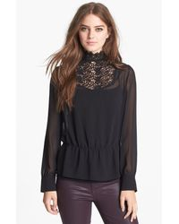 Hinge   Black Lace Mock Neck Sheer Top   Lyst