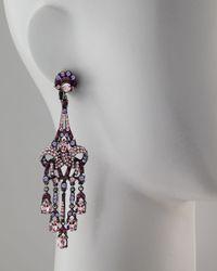 Jose & Maria Barrera - Purple Crystal Drop Earrings - Lyst