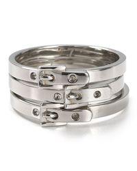 Michael Kors | Metallic Skinny Buckle Rings Set Of 3 | Lyst